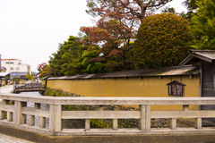 Wall and bridges in samurai quarters Royalty Free Stock Images