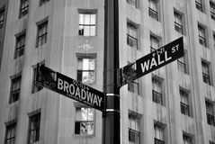 Wall and Broadway. Street signs indicating the intersection of Wall Street and Broadway. Wall Street is the heart of the historic Financial district. This Royalty Free Stock Image