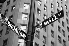 Wall and Broadway. Street signs indicating the intersection of Wall Street and Broadway. Wall Street is the heart of the historic Financial district. This Royalty Free Stock Photography