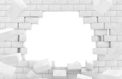 Wall of broken brick. Royalty Free Stock Photography