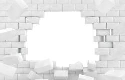 Wall of broken brick. Royalty Free Stock Photography