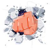 A Wall Is Broken Through By A Fist hand. punch hitting  and dama. Ge wall. power or freedom concept - vector illustration Royalty Free Stock Photos