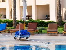 Wall brush with hose for pool cleaning at the hotel, empty loungers on the background. Manual pool cleaner at the resort in Egypt, empty chaise loungers on the royalty free stock photography