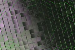 Wall of brushed metal tiles with diagonal glowing elements Stock Photos