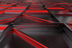 Wall of brushed metal tiles with diagonal glowing elements Royalty Free Stock Photos