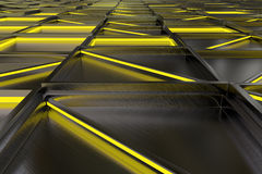 Wall of brushed metal tiles with diagonal glowing elements Stock Photography