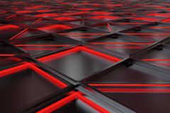 Wall of brushed metal tiles with diagonal glowing elements Stock Images