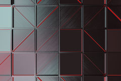 Wall of brushed metal tiles with diagonal glowing elements. Wall of rectangle tiles made from brushed metal, grid of square tiles with diagonal glowing elements stock illustration