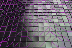 Wall of brushed metal tiles with diagonal glowing elements. Wall of rectangle tiles made from brushed metal, grid of square tiles with diagonal glowing elements vector illustration