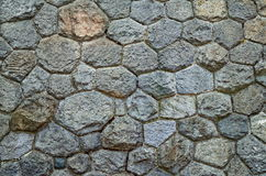 The wall built of irregular stones background. Texture of old stonework. Space for text. The concept of reliability Stock Photos