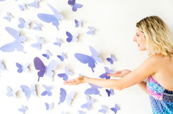 The wall with butterflies Stock Images