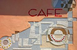 Wall from a café. Advertisement for a café of a wall Stock Images