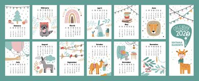 Free Wall Calendar 2021 With Animals. School Organizer And Schedule. Cute Lion, Giraffe, Rabbit, Camel, Donkey And Raccoon Characters. Stock Photo - 202681480