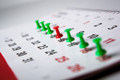Wall calendar calendar with needles Stock Images