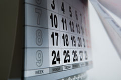 Wall calendar calendar with the number of days Stock Photography
