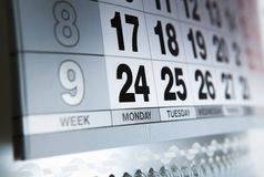 Wall calendar calendar with the number of days Royalty Free Stock Image