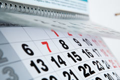 Wall calendar calendar with the number of days Stock Photo