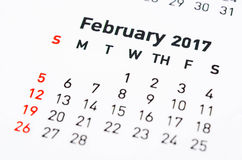 Wall Calendar February. Close up wall Calendar February 2017 Royalty Free Stock Photos