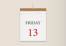 Wall calendar. Friday, the 13th, in a wall calendar Royalty Free Stock Image