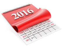 2016 wall calendar. 2016 calendar isolated on white background Royalty Free Stock Photo