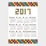 2017 wall calendar from little color bricks eps10. 2017 wall calendar from little color bricks Royalty Free Stock Photos