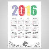 2016 wall calendar from little numbers eps10 Royalty Free Stock Photos