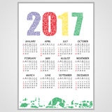 2017 wall calendar from little numbers eps10. 2017 wall calendar from little numbers Royalty Free Stock Photos