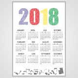 2018 wall calendar from little numbers. Eps10 Royalty Free Stock Images