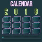 Wall Calendar neon leaf Template for 2019 Year royalty free stock photo