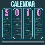 Wall Calendar neon Template for 2019 Year royalty free stock images