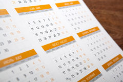 Wall calendar with number of days Royalty Free Stock Image