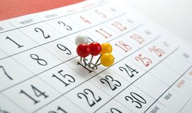 Wall calendar with number of days colored needles. Wall calendar with number of days needles stock photos
