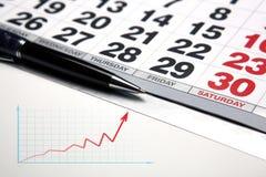 Wall calendar with pen closeup Stock Image