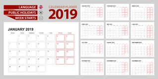 Wall calendar planner 2019 in English, week starts in Monday.  royalty free illustration