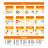 Wall Calendar Planner for 2017 Year. Vector Design Print Template with Place for Photo and Notes. Week Starts Sunday. orange. Art Royalty Free Stock Image