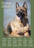 Wall Calendar Poster for 2018 Year with photo dog. Week Starts Sunday Stock Photos