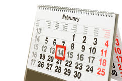 Wall calendar with red mark  Valentines day. Sheet of wall calendar with red mark on 14 February - Valentines day Royalty Free Stock Image