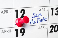 April 12. Wall calendar with a red pin - April 12 Royalty Free Stock Images