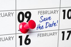 February 09. Wall calendar with a red pin - February 09 stock images