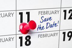February 11. Wall calendar with a red pin - February 11 stock photo