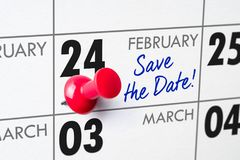 February 24. Wall calendar with a red pin - February 24 royalty free stock photos