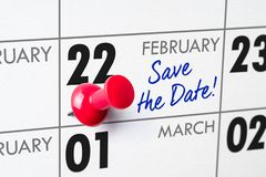 February 22. Wall calendar with a red pin - February 22 stock images