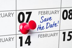February 07. Wall calendar with a red pin - February 07 royalty free stock photo