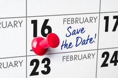 February 16. Wall calendar with a red pin - February 16 stock photos