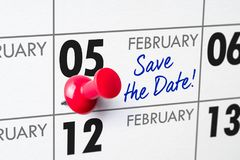 February 05. Wall calendar with a red pin - February 05 royalty free stock photo