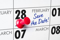 February 28. Wall calendar with a red pin - February 28 stock photos