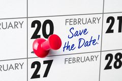 February 20. Wall calendar with a red pin - February 20 stock photos