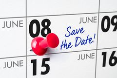 Wall calendar with a red pin - June 08 Stock Photo