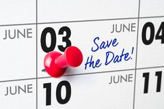 Wall calendar with a red pin - June 03 Royalty Free Stock Images