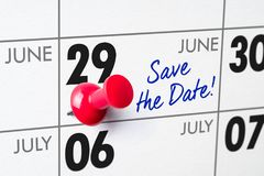 Wall calendar with a red pin - June 29 Royalty Free Stock Image
